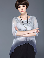 cheap -Women's Casual/Daily Sophisticated Spring Summer Blouse,Solid Round Neck ¾ Sleeve Silk Semi-opaque Thin