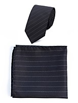 cheap -Men's Polyester Necktie,Simple Casual Striped All Seasons Black