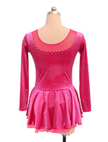 cheap -Figure Skating Dress Women's Girls' Ice Skating Dress Fuchsia Spandex Inelastic Performance Practise Skating Wear Solid Long Sleeves Ice