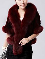 Недорогие -Жен. На выход На каждый день Зима Осень Пальто с мехом V-образный вырез,Уличный стиль Однотонный Обычная Короткие рукава,Искусственный мех