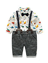 cheap -Baby Boys' Party Birthday Print Clothing Set,Cotton Spring Cute Long Sleeve White