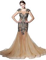 economico -A sirena Con decorazione gioiello Strascico da cappella Tulle Graduazione Serata formale Vestito con Perline Di pizzo di Sarahbridal