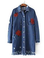 cheap -Women's Going out Street chic Spring Summer Denim Jacket,Solid Print Shirt Collar Long Sleeve Long Polyester