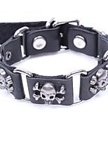 cheap -Men's Bracelet , Metallic Casual Gothic Leather Alloy Circle Skull Jewelry Halloween