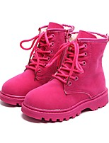 cheap -Girls' Shoes PU Winter Fall Combat Boots Fluff Lining Boots Booties/Ankle Boots Mid-Calf Boots for Casual Dress Black Fuchsia Brown