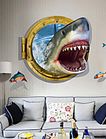 cheap -3D Stereo Bedroom Wall Decoration Wallpaper Stickers Shark Sea Newspaper