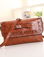 cheap -Women Bags PU Shoulder Bag Buttons Pattern / Print Zipper for Casual All Season Brown Red