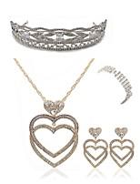 abordables -Mujer Pulseras de puño Los sistemas nupciales de la joyería Cristal Europeo Moda Boda Fiesta Diamante Sintético Legierung Corazón Joyería