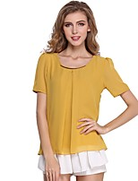 cheap -Women's Daily Going out Cute Active Sexy Street chic All Seasons Blouse,Solid Round Neck Short Sleeve Polyester Medium