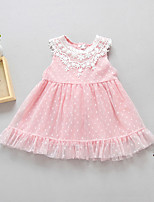 Girl's Casual/Daily Solid Dress,Polyester Spring Summer Sleeveless Simple White Blushing Pink