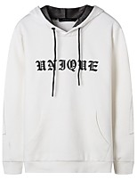 cheap -Men's Plus Size Going out Casual/Daily Simple Hoodie Solid Letter Hooded Without Lining Inelastic Cotton Long Sleeves Winter Fall