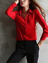 cheap -Women's Holiday Casual/Daily Street chic Blouse,Solid Shirt Collar Long Sleeve Polyester
