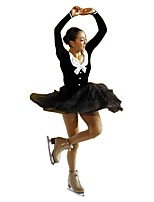 cheap -Figure Skating Dress Women's Girls' Ice Skating Dress Black Spandex Inelastic Performance Practise Skating Wear Solid Long Sleeves Ice