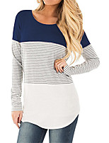 cheap -Women's Holiday Going out Casual Street chic Spring Fall T-shirt,Solid Striped Color Block Round Neck Long Sleeve Cotton Polyester Thin