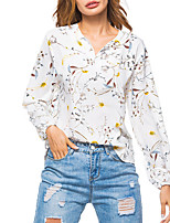cheap -Women's Holiday Going out Vintage Boho Spring Fall ShirtFloral V Neck Long Sleeve Polyester Medium