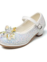 cheap -Girls' Shoes Glitter Spring Fall Comfort Flower Girl Shoes Tiny Heels for Teens Heels Crystal Bowknot Magic Tape for Wedding Dress Light