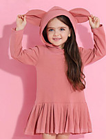 cheap -Girl's Daily Solid Print Dress,Cotton Spring Fall Long Sleeves Cute Casual Active Blushing Pink