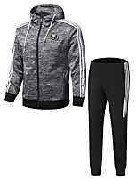 cheap -Men's Casual/Daily Activewear Set Solid Round Neck Inelastic Polyester Long Sleeves Winter