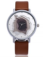 cheap -Women's Fashion Watch Chinese Quartz Large Dial Leather Band Casual Minimalist Black White Blue Brown Grey Pink