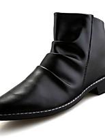Недорогие -Для мужчин обувь Резина Зима Осень Удобная обувь Ботинки Для прогулок Сапоги до середины икры Пряжки для Белый Черный Бежевый