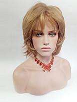 abordables -Femme Perruque Synthétique Mi Longue Ondulé Blond Avec Frange Perruque Naturelle Perruque Déguisement