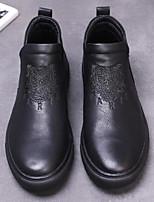 abordables -Hombre Zapatos Cuero Invierno Otoño Confort Zapatos de taco bajo y Slip-On para Casual Negro