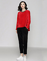 cheap -Women's Daily Casual Winter Set Pant Suits,Solid Round Neck Long Sleeve Polyester