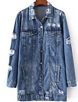 economico -Giacca di jeans Da donna Quotidiano Vintage Casual Autunno,Tinta unita Colletto Altro Lungo Maniche lunghe