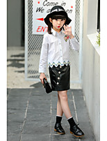 cheap -Girls' Daily Going out Solid Embroidered Clothing Set,PU Cotton Spring Long Sleeve Street chic Chinoiserie White