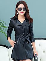 cheap -Women's Daily Casual Winter Fall Trench Coat,Solid Shirt Collar Long Sleeve Regular Wool