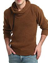 economico -Standard Pullover Da uomo-Per eventi Tinta unita A collo alto Manica lunga Elastene Cotone giapponese Inverno Autunno Spesso Media