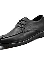 Недорогие -Для мужчин обувь Полиуретан Весна Осень Удобная обувь Туфли на шнуровке для Повседневные Черный Коричневый Красный