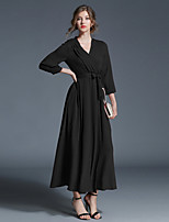 cheap -Women's Daily Going out Casual Street chic Sheath Swing Dress,Solid V Neck Maxi 3/4 Sleeve Cotton Polyester Winter Fall High Waist