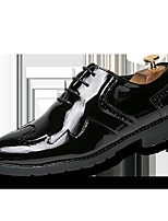 cheap -Men's Shoes Real Leather Leather Spring Summer Comfort Oxfords Stitching Lace for Wedding Casual Black Gold