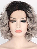 cheap -Women Synthetic Lace Front Wig Short Medium Length Curly Loose Wave Grey Dark Roots Bob Haircut Lolita Wig Party Wig Halloween Wig