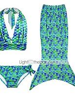cheap -The Little Mermaid Swimwear Bikini Kid Christmas Masquerade Festival / Holiday Halloween Costumes Fuschia Green Blue Solid