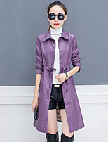 cheap -Women's Going out Casual/Daily Simple Winter Fall Leather Jacket,Solid Shirt Collar Long Sleeve Long PU Oversized