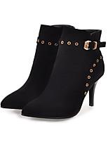 baratos -Feminino Sapatos Pele Nobuck Inverno Outono Conforto Inovador Botas da Moda Botas Salto Agulha Dedo Apontado Botas Curtas / Ankle Botas