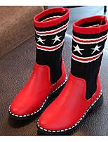 preiswerte -Mädchen Schuhe Kunstleder Winter Herbst Komfort Schneestiefel Stiefel Walking Mittelhohe Stiefel Spitze für Normal Schwarz Rot