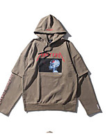 cheap -Men's Going out Hoodie Print Hooded Micro-elastic Cotton Long Sleeves Fall Winter