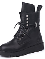 cheap -Women's Shoes Nubuck leather Winter Fall Combat Boots Boots Chunky Heel Round Toe for Outdoor Khaki Black