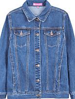Недорогие -Для женщин На выход Осень Джинсовая куртка Рубашечный воротник,Простой С принтом Обычная Длинные рукава,Хлопок,Крупногабаритные