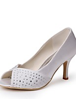 Недорогие -Для женщин Обувь Шёлк Весна Лето Туфли лодочки Свадебная обувь На шпильке Открытый мыс Аппликация для Свадьба Для вечеринки / ужина Белый