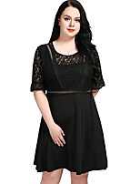 cheap -Cute Ann Women's Party Work Vintage Casual Sexy A Line Lace Skater Dress,Solid Round Neck Midi Knee-length Half Sleeve Spandex Elastane Spring Fall