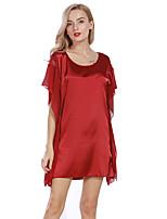 Satin & Soie Pyjamas Femme,Sexy Solide Jacquard Polyester Imitation Soie Noir Rose Claire Gris Vin