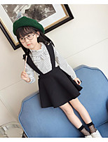 cheap -Girls' Solid Striped Clothing Set,Cotton Polyester Summer Long Sleeve Simple Black