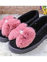 cheap -Women's Shoes Flocking Winter Fall Comfort Slippers & Flip-Flops Walking Shoes Flat Heel Round Toe Feather Bowknot for Casual Black Gray