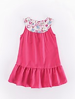 cheap -Girl's Casual/Daily Solid Patchwork Dress,Polyester Winter Fall Sleeveless Simple Fuchsia