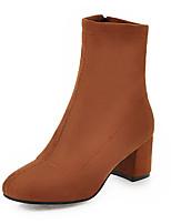 Недорогие -Для женщин Обувь Нубук Зима Осень Модная обувь Ботильоны Ботинки На толстом каблуке Квадратный носок Ботинки Сапоги до середины икры для