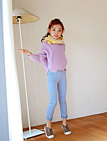 cheap -Girls' Solid Pants,Polyester Spring Fall Cute Active White Black Blushing Pink Light Blue Royal Blue
